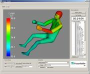 Live-Anzeige der lokalen Äquivalenttemperaturen auf einem virtuellen segmentierten Mensch-Modell Fraunhofer IBP